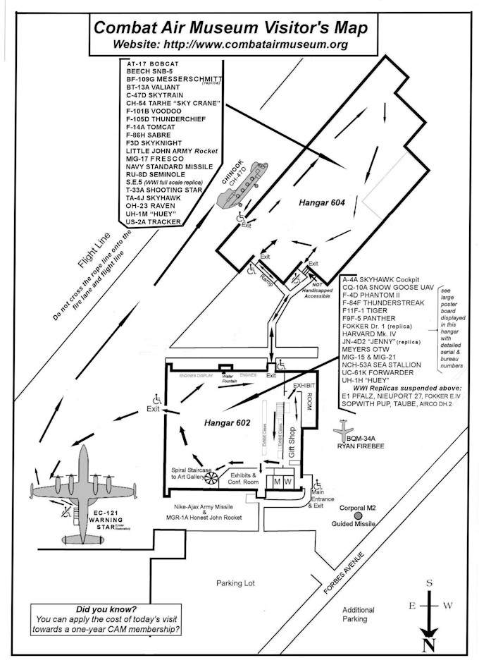 Map of Hangars at Combat Air Museum